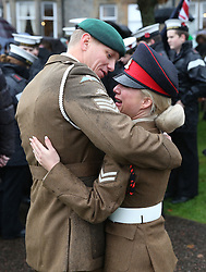 Military personnel pay tribute at a Remembrance Sunday service in Fort William town centre, held in tribute for members of the armed forces who have died in major conflicts.