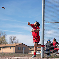 Grants's Sharon Mirabal competes in the discus throw at the Wingate Invitational track meet, Saturday, April 6 in Fort Wingate.