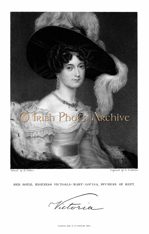 Victoria Mary Louisa, Duchess of Kent (1786-1861) mother of Queen Victoria. Engraving published 1832.