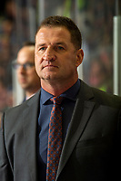KELOWNA, BC - NOVEMBER 1: Kelowna Rockets' head coach Adam Foote stands on the bench against the Prince George Cougars at Prospera Place on November 1, 2019 in Kelowna, Canada. (Photo by Marissa Baecker/Shoot the Breeze)