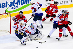 Rafael Rotter of Austria, Rok Pajic of Slovenia, Robert Kristan, goalkeeper of Slovenia, Andrej Tavzelj of Slovenia, Roland Kaspitz of Austria, Sabahudin Kovacevic of Slovenia and Thomas Raffl of Austria during ice-hockey match between Austria and Slovenia of Group G in Relegation Round of IIHF 2011 World Championship Slovakia, on May 7, 2011 in Orange Arena, Bratislava, Slovakia. (Photo By Vid Ponikvar / Sportida.com)