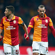 Galatasaray's Wesley Sneijder (R) celebrate victory during their Turkish superleague soccer derby match Galatasaray between Besiktas at the TT Arena at Seyrantepe in Istanbul Turkey on Sunday, 27 January 2013. Photo by Aykut AKICI/TURKPIX