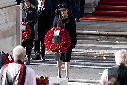 © Licensed to London News Pictures. 12/11/2017. London, UK. British Prime Minister THERESA MAY attends a Remembrance Day Ceremony at the Cenotaph war memorial in London, United Kingdom, on November 13, 2016 . Thousands of people honour the war dead by gathering at the iconic memorial to lay wreaths and observe two minutes silence. Photo credit: Ray Tang/LNP