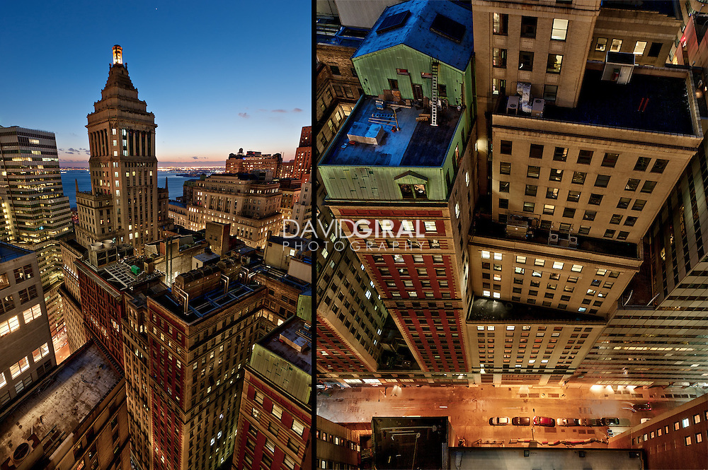 picture of New York City Skyline and Standard Oil Building at the blue hour taken from a rooftop, Manhattan, financial district