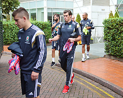 CARDIFF, WALES - Tuesday, October 7, 2014: Wales' Gareth Bale departs the team hotel for a training session at Dragon Park National Football Development Centre ahead of the UEFA Euro 2016 qualifying match against Bosnia and Herzegovina. (Pic by David Rawcliffe/Propaganda)