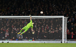 Bernd Leno of Arsenal is beaten as a shot hits the bar - Mandatory by-line: Arron Gent/JMP - 27/02/2020 - FOOTBALL - Emirates Stadium - London, England - Arsenal v Olympiacos - UEFA Europa League Round of 32 second leg