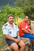 Police officer, Hane, Ua Huka, Marquesas Islands, French Polynesia, (Editorial use only)<br />