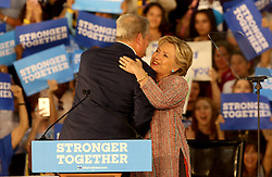 Hillary Clinton hugs former Vice President Al Gore after his speech at Miami Dade College in Kendall The two discussed climate change as well as the upcoming election. Miami, FL, USA, October 11, 2016. Photo by Mike Stocker/Sun-Sentinel/TNS/ABACAPRESS.COM
