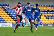 AFC Wimbledon attacker Ryan Longman (29) battles for possession during the EFL Sky Bet League 1 match between AFC Wimbledon and Sunderland at Plough Lane, London, United Kingdom on 16 January 2021.