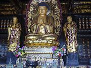 Golden Buddha and Disciples Sculpture in a Shrine, Big Wild Goose Pagoda, Xian, Shaanxi, China