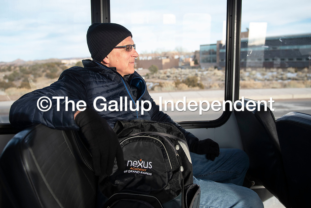 Paul Brink of Rehoboth experiences his first bus ride on the Gallup Express Thursday afternoon in Gallup.