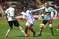 Eniola Aluko (England) gets between Julie Biesmans (Belgium) and Lorca Van De Putte (Belgium) to get a cross into the Belgium box during the Euro 2017 qualifier between England Ladies and Belgium Ladies at the New York Stadium, Rotherham, England on 8 April 2016. Photo by Mark P Doherty.