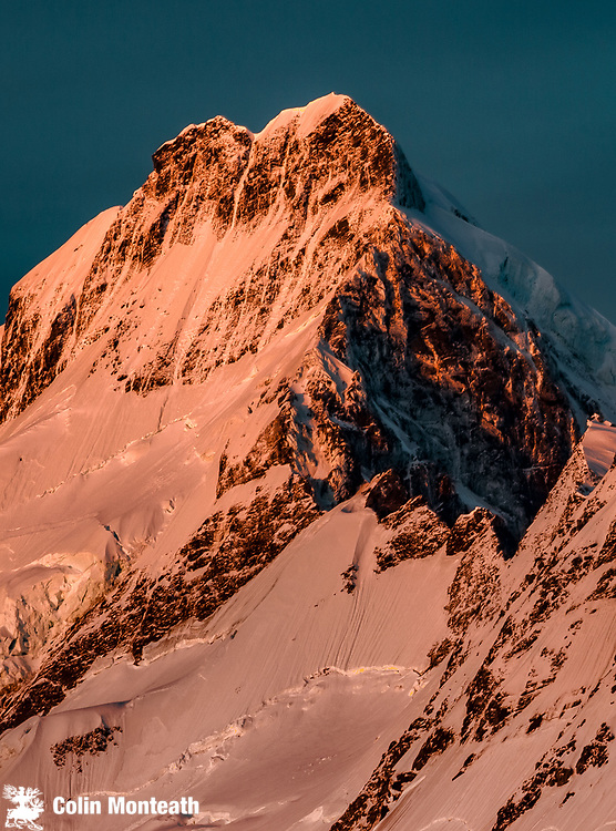 Mt Sefton east ridge above Tuckett col, at dawn, Hooker valley from Mt Kinsey, Aoraki Mount Cook National Park, Canterbury, New Zealand
