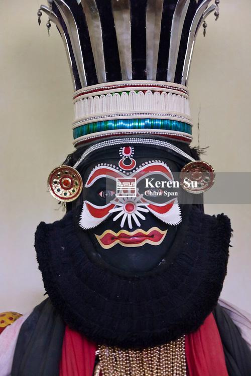Kathakali (classical Indian dance-drama), Karutha Thaadi role, Kerala State, India
