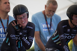Alice Barnes (GBR) of Drops Cycling Team checks her helmet strap before the Crescent Vargarda - a 42.5 km team time trial, starting and finishing in Vargarda on August 11, 2017, in Vastra Gotaland, Sweden. (Photo by Balint Hamvas/Velofocus.com)