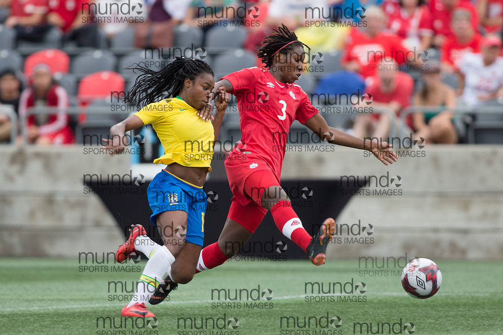 OTTAWA, ON - September 2: Kadeisha Buchanan (3 -- CB) of Canada and Ludmile (19 -- F) of Brazil battle for the ball in an international FIFA women's friendly soccer match between Canada and Brazil at TD Place Stadium in Ottawa, Canada, September 2, 2018. Canada defeated Brazil 1-0. (Photo by Sean Burges/Mundo Sport Images)