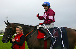 Mark Enright celebrates winning thetote.com Galway Plate on Clarcam during day three of the Galway Summer Festival at Galway Racecourse.
