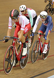 Poland's Wojciech Pszczolarski is followed by Great Britain's Oliver Wood during the Mens 40km Points Race during day four of the 2018 European Championships at the Sir Chris Hoy Velodrome, Glasgow.