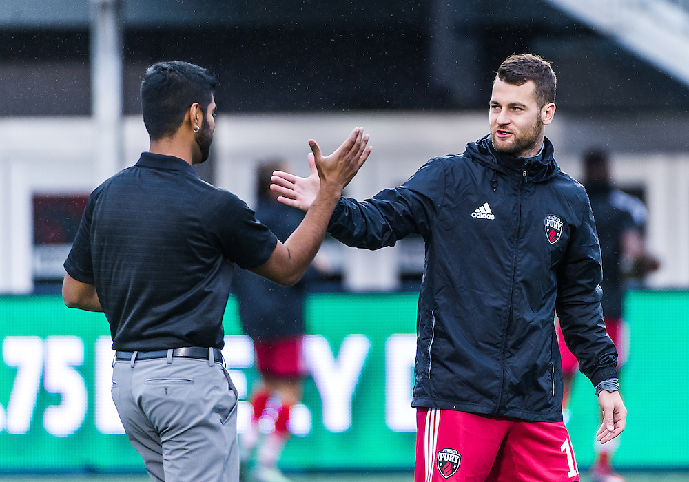 Ottawa Fury FC forward Thomas Stewart (#16) before the NASL match between the Ottawa Fury FC and Puerto Rico FC at TD Place Stadium in Ottawa, ON. Canada on Oct. 2, 2016.<br /> <br /> PHOTO: Steve Kingsman/Freestyle Photography