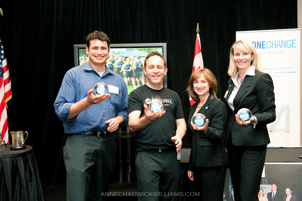 One Change Event in Sacramento, CA. Matthew Golden, NGO supporter and President of Recurve, Jenine Tankoos, Project Porchlight Outstanding Volunteer, and a representative from Canadian tire receive One change Catalyst awards for empowering people to believe that simple actions matter. Stuart Hickox, founder, also pictured.