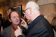 RICHARD WILSON; DON BOYD, The launch party of HiBrow and A Mighty Big If. ÊThe Crypt. St. Martins in the Fields. London. 24 January 2012<br /> RICHARD WILSON; DON BOYD, The launch party of HiBrow and A Mighty Big If.  The Crypt. St. Martins in the Fields. London. 24 January 2012