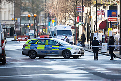 A police cordon surrounds the area where a 17 year-old boy died after being stabbed on Caledonian Road, Islington, North London. London, January 30 2019.