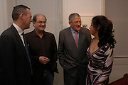 Salman Rushdie, David Hockney and Alison Jacques. Robert Mapplethorpe exhibition curated by David Hockney. Alison Jacques Gallery. clifford St. London. 13 January 2005.  ONE TIME USE ONLY - DO NOT ARCHIVE  © Copyright Photograph by Dafydd Jones 66 Stockwell Park Rd. London SW9 0DA Tel 020 7733 0108 www.dafjones.com