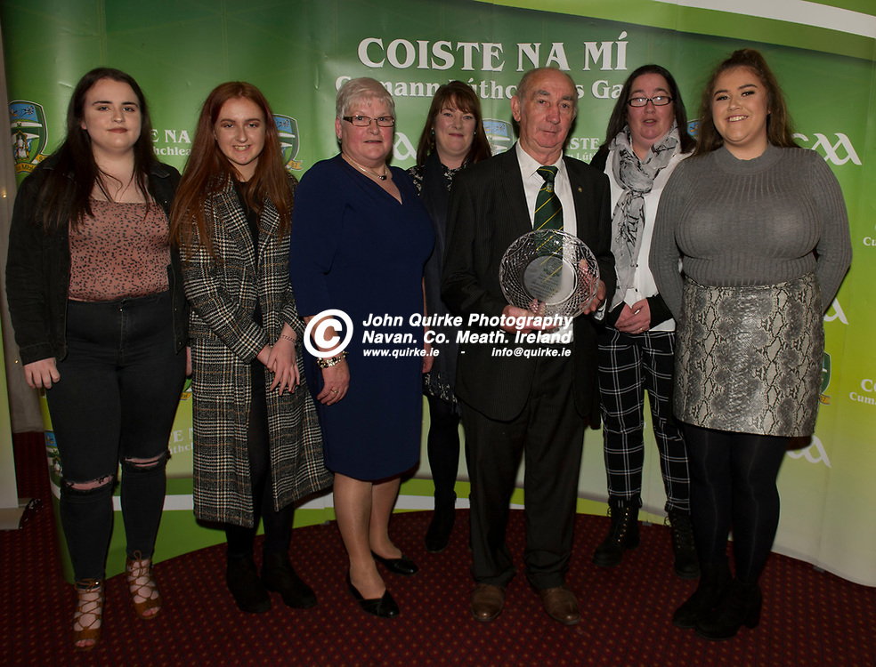 08-12-19. Meath GAA Annual Sponsors Night and Awards Presentation 2019 at the Castle Arch Hotel, Trim.<br /> Hall of Fame recipient Barney Allen pictured with family members from left, Tara Mullen, Roisin Mullen, Liz Allen (wife), Olive Hanratty, Mary Mullen and Mia Mullen.<br /> Photo: John Quirke / www.quirke.ie<br /> ©John Quirke Photography, Unit 17, Blackcastle Shopping Cte. Navan. Co. Meath. 046-9079044 / 087-2579454.