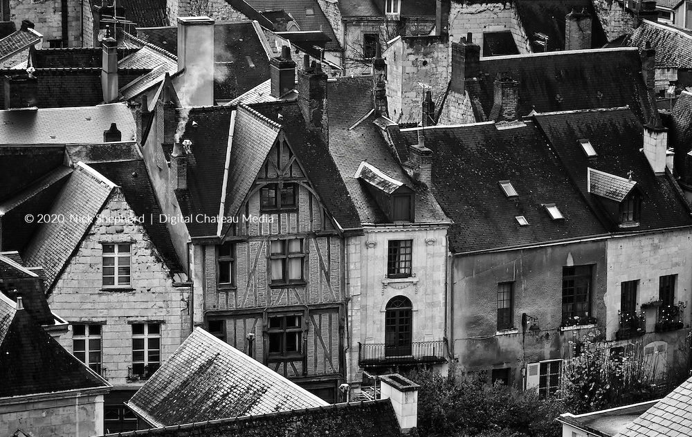 French rooftops in Chinon, France