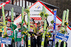 Second placed team of Norway, winning team of Austria and third placed team of Germany at flower ceremony after the Flying Hill Team competition at 3rd day of FIS Ski Jumping World Cup Finals Planica 2012, on March 17, 2012, Planica, Slovenia. (Photo by Vid Ponikvar / Sportida.com)