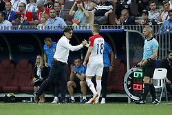 (L-R) Croatia coach Zlatko Dalic, Ante Rebic of Croatia, 4th official Bjorn Kuipers during the 2018 FIFA World Cup Russia Final match between France and Croatia at the Luzhniki Stadium on July 15, 2018 in Moscow, Russia