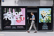 Empty retail space shop to let on Marylebone High Street on 10th August 2021 in London, United Kingdom. Marylebone High Street is a grand and upmarket shopping street in London.