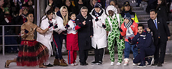 February 25, 2018 - Pyeongchang, KOR - IOC President Thomas Bach poses for a photo with athletes including Lindsey Vonn of the USA and Pita Taufatofua of Tonga, left, at Pyeongchang Olympic Stadium during the Closing Ceremony of the 2018 Pyeongchang Winter Olympics on Sunday, February 25, 2018 in South Korea. (Credit Image: © Carlos Gonzalez/TNS via ZUMA Wire)