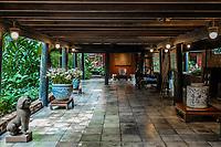 garden and patio at Jim Thompson House museum Bangkok Thailand