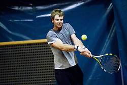 Blaz Kavcic during practice session before Davis Cup between National team of Slovenia and JAR on September 9, 2013 in Sports center Dolgi most, Ljubljana, Slovenia. (Photo By Urban Urbanc / Sportida)