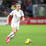 England defender Leah Williamson (14) is seen during the first match of the 2020 She Believes Cup soccer tournament at Exploria Stadium on 5 March 2020 in Orlando, Florida USA.