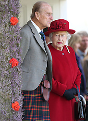 05/09/2015. The Duke of Edinburgh and Queen Elizabeth II during the Braemar Royal Highland Gathering, held a short distance from the Balmoral estate in Aberdeenshire. The Royal couple will celebrate their platinum wedding anniversary on November 20.