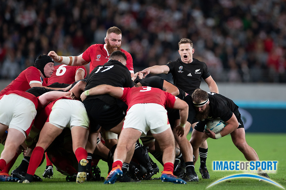 New Zealand scrum during the Rugby World Cup bronze final match between New Zealand and Wales Friday, Nov, 1, 2019, in Tokyo. New Zealand defeated Wales 40-17.  (Flor Tan Jun/Espa-Images-Image of Sport)