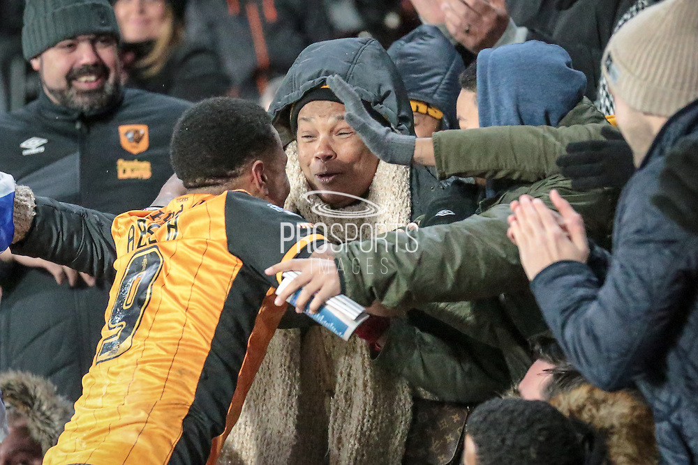 Abel Hernández (Hull City) runs to celebrate with friends in the crowd  during the Sky Bet Championship match between Hull City and Cardiff City at the KC Stadium, Kingston upon Hull, England on 13 January 2016. Photo by Mark P Doherty.