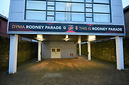 General view of the entrance to Rodney Parade stadium before the The FA Cup match between Newport County and Middlesbrough at Rodney Parade, Newport, Wales on 5 February 2019.