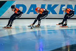 Xandra Velzeboer of Netherlands, Suzanne Schulting of Netherlands, Selma Poutsma of Netherlands in action on 1500 meter during ISU World Short Track speed skating Championships on March 05, 2021 in Dordrecht