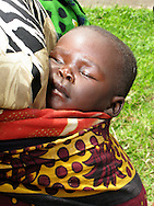 Rwanda- A Rwandan baby sleeps tied to his mother's back while on an outing at the Gary Scheer school in the Southern Province, Rwanda.