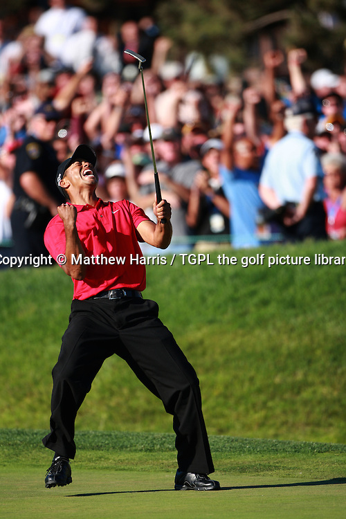 Tiger WOODS (US) celebrates making birdie at the 18th to tie with Rocco Mediate (US) and get into a play off  during fourth round  US Open Championship, Torrey Pines,San Diego, California,USA,15th June 2008.