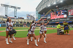 March 26, 2018 - Houston, TX, U.S. - HOUSTON, TX - MARCH 26: The Shooting Stars prepare to launch shirts into the crowd before the game between the Milwaukee Brewers and Houston Astros at Minute Maid Park on March 26, 2018 in Houston, Texas. (Photo by Ken Murray/Icon Sportswire) (Credit Image: © Ken Murray/Icon SMI via ZUMA Press)