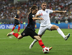 MOSCOW, July 11, 2018  Jordan Henderson (R) of England vies with Luka Modric of Croatia during the 2018 FIFA World Cup semi-final match between England and Croatia in Moscow, Russia, July 11, 2018. (Credit Image: © Xu Zijian/Xinhua via ZUMA Wire)