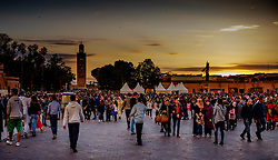 Sunset in the Jemaa el Fna, Marrakech, Morocco, North Africa<br /> <br /> (c) Andrew Wilson | Edinburgh Elite media