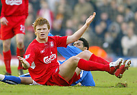 Jed Leicester / Digitalsport<br /> FA Barclays Premiership<br /> Birmingham City v Liverpool<br /> 12th February, 2005<br /> Liverpool's John Arne Riise appeals for a foul after coming together with Birmingham City's Jermaine Pennant