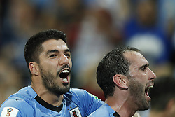 (L-R) Luis Suarez of Uruguay, Diego Godin of Uruguay during the 2018 FIFA World Cup Russia round of 16 match between Uruguay and at the Fisht Stadium on June 30, 2018 in Sochi, Russia