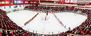 Panorama of the Wisconsin and Minnesota women's hockey team during the National Anthem. (Photo © Andy Manis)