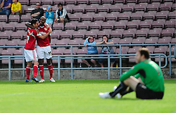 Bristol City's Marvin Elliott and Bristol City's Sam Baldock  celebrate  - Photo mandatory by-line: Dougie Allward/JMP - Tel: Mobile: 07966 386802 11/08/2013 - SPORT - FOOTBALL - Sixfields Stadium - Sixfields Stadium -  Coventry V Bristol City - Sky Bet League One
